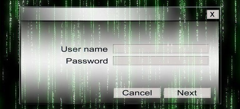 User name, password