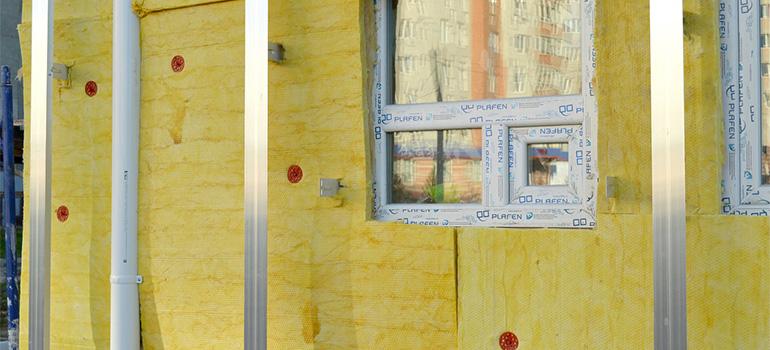A facade with insulation