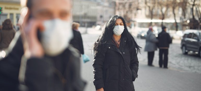 People in public with masks on.