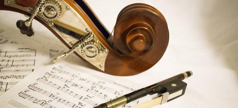 Violin and sheet music.