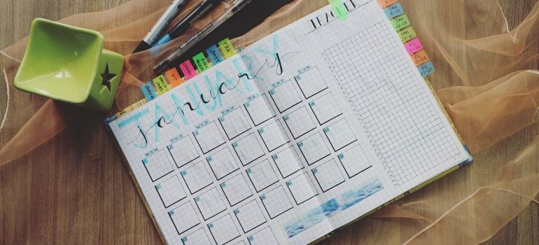Planner and pens.