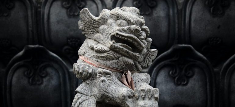 chinese sculpture made from gray stone