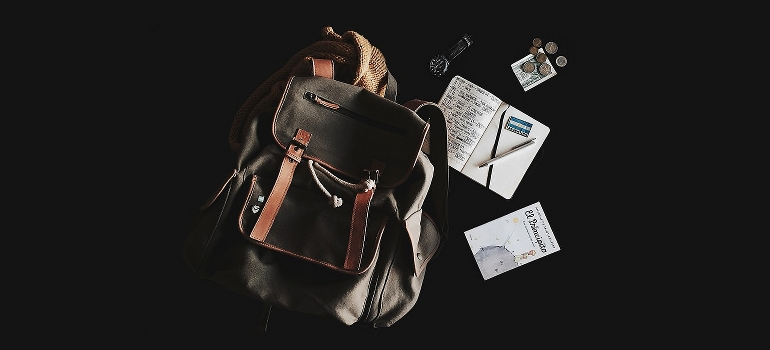 A backpack with papers and money
