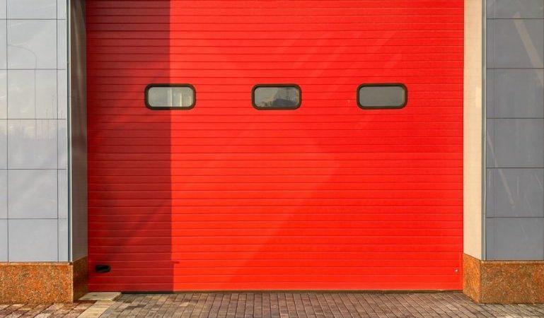 red storage unit door
