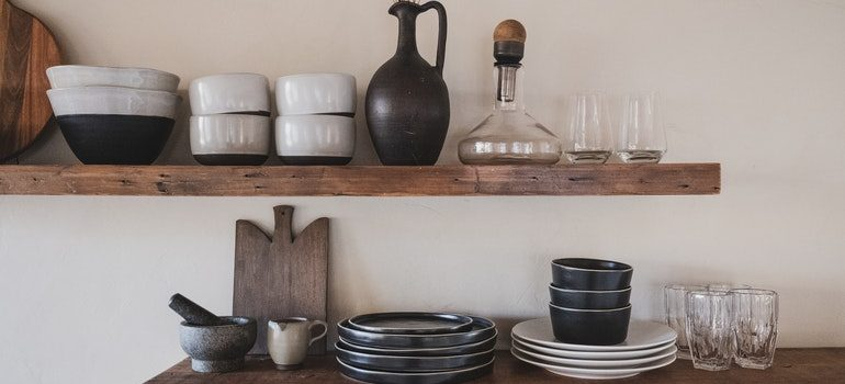 Dishes on shelves.