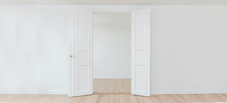 A white door on a white wall