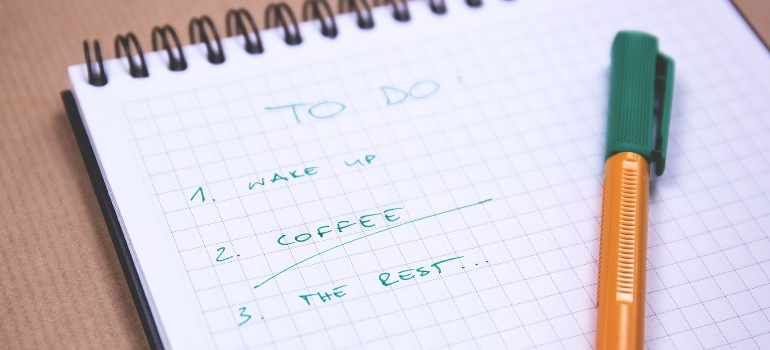 a checklist with things to do