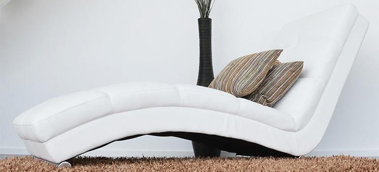 A heavy white sofa