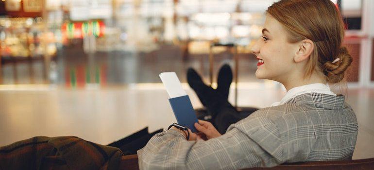 Woman at an airport.