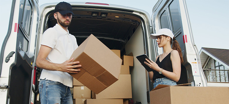 Professional movers taking care of relocation