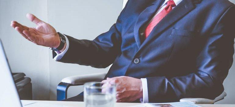 A businessman holding a presentation