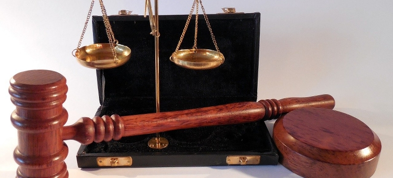 a hammer and a scale representing justice