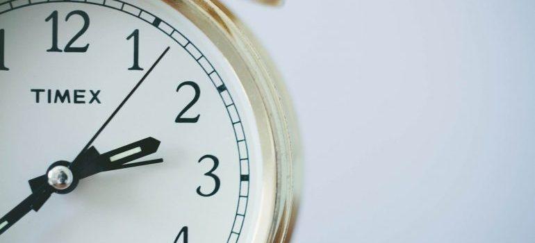 A white alarm clock.
