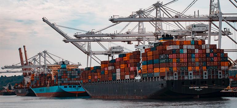 A big overseas cargo ship