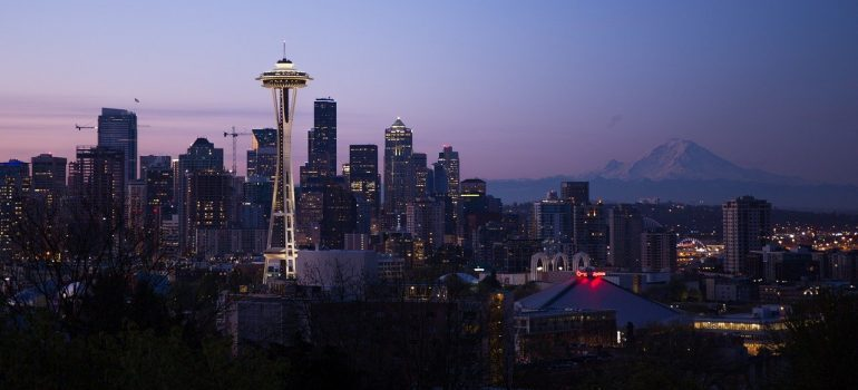 An aerial view of Seattle at night.