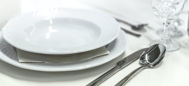 Dinnerware on a table.