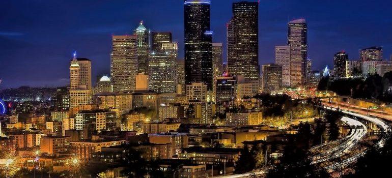 Seattle's skyline at night.
