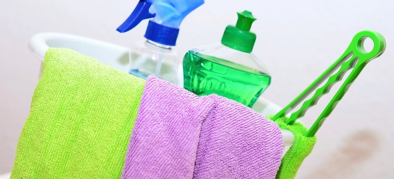 cleaning products and cloths
