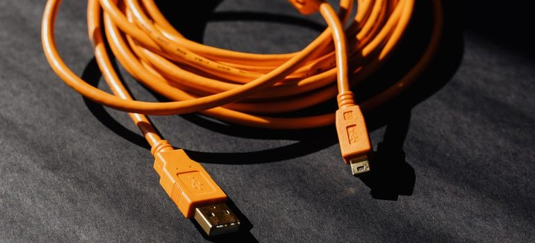 Coiled USB cable.