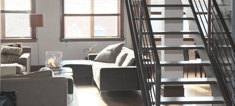 An apartment with stairs.