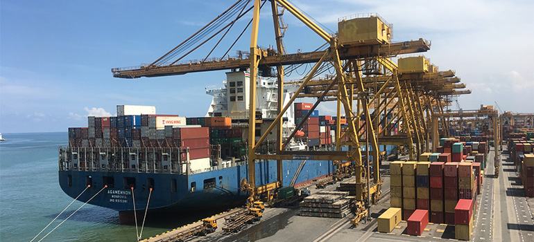 A ship used for shipping containers