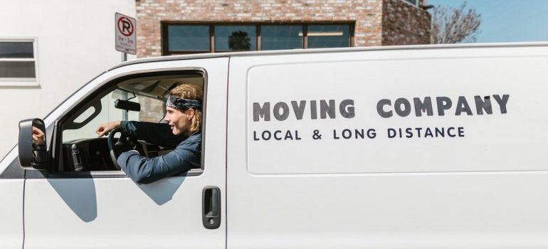 Mover sitting in a van