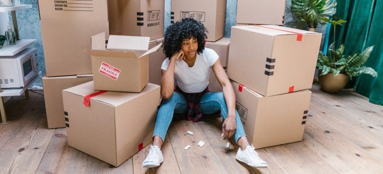 Woman resting after move