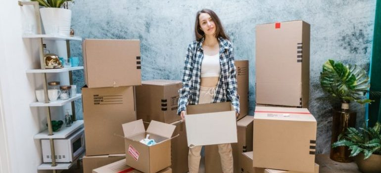 Woman moving for the first time