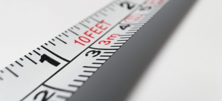 Close up of a tape measure.