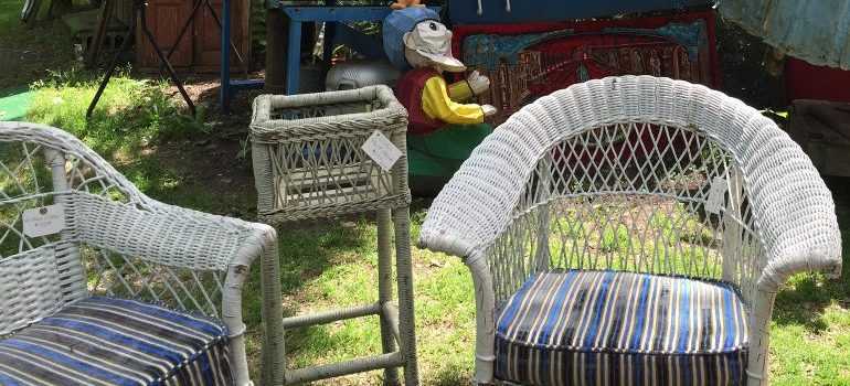 garden chairs on a sale, outside
