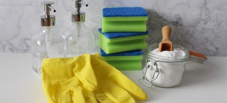 Gloves and cleaning supplies.