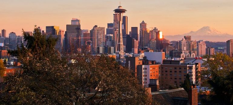 a view of Seattle's commercial district