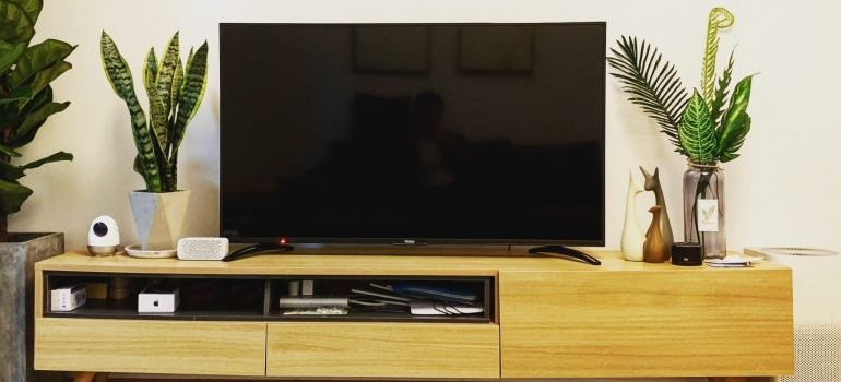 flat screen TV on a stand